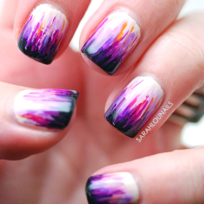 Waterfall Nails Colorful French