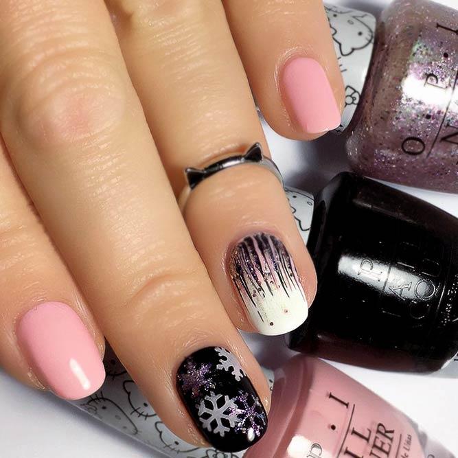 Pink & Black Waterfall Nails