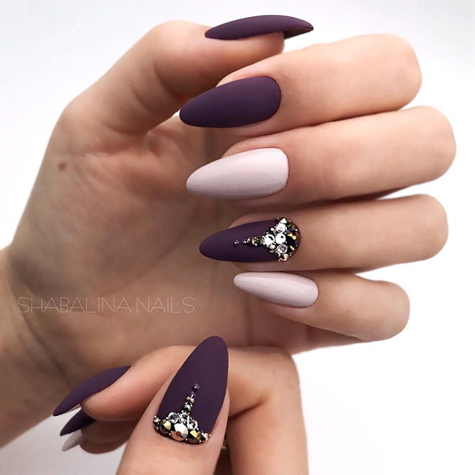 Two-Tone Manicure With Bold Accents
