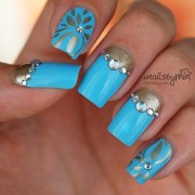 baby blue & gold nail art xnailsbymiri