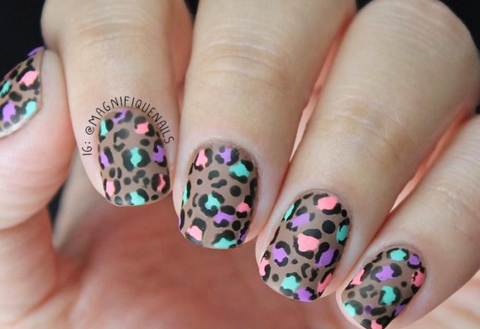 Colorful Matted Leopard Print Nails Nail Art By Ana Nailpolis