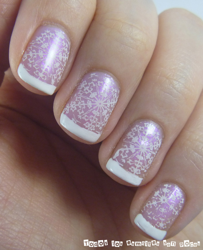 French Manicure With Snowflakes Nail Art By Maria