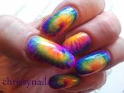 bright and neon tie dye nails nail