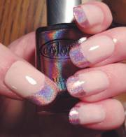 pink holographic french tips nail