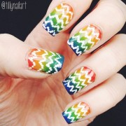 rainbow gradient and white polka