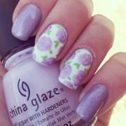 holographic purple rose nail art