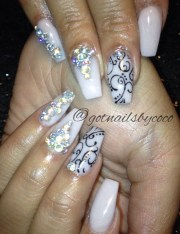 simple scrolling & bling nail art