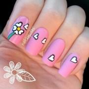 spring pink daisy nail art zeynep
