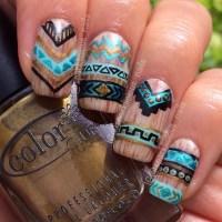 Wooden Aztec/Tribal Design nail art by Amanda ...