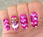 sparkly cheshire cat nail art