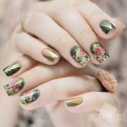 olive green vintage floral nail