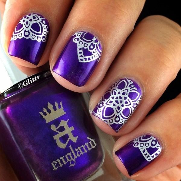 Purple Stamping Nail Art