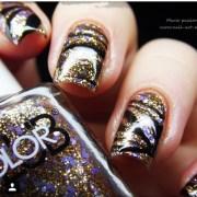 glitter water marble nail art