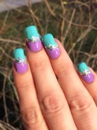 Purple & turquoise nail art by Virginia - Nailpolis ...