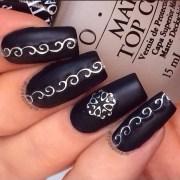 matte black & silver nail art