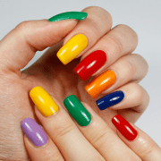 rainbow colours nail art yue