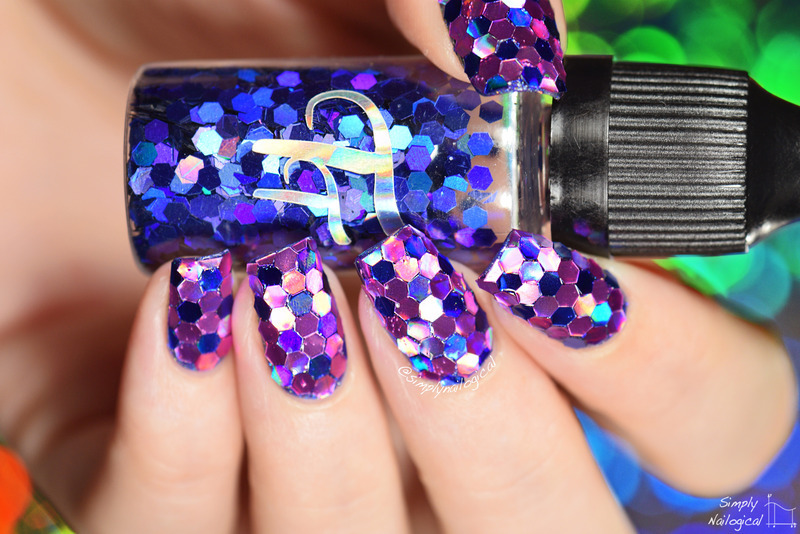 Large holo glitter placement nail art by simplynailogical