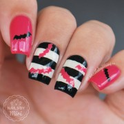 pink halloween bats nails nail