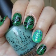 sports themed stamping with glitter