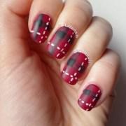 red tartan fabric nail art tallie