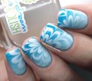 aqua gradient water marble nail