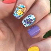 koi and lotus flower nail art