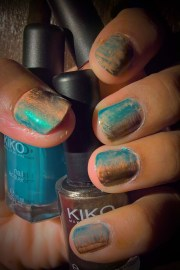 pale peach metalic teal and copper
