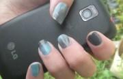 grey teal gradient nail art