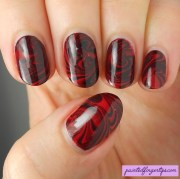 red & black water marble nail art