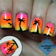 summer sunset with palm trees nail