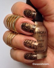 bronze lace stamped nails nail