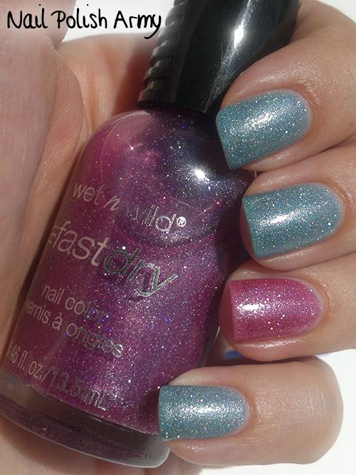 Wet n wild E234C Hannah Pinktana, E235C Blue Wants To Be A Millionaire, fast dry holographic microglitter nail polish