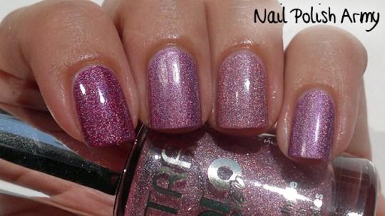Comparison: Shaka 03 Hologram Violet vs. Astra Holo Lacquer 706 Holo Pink and 707 Holo Purple