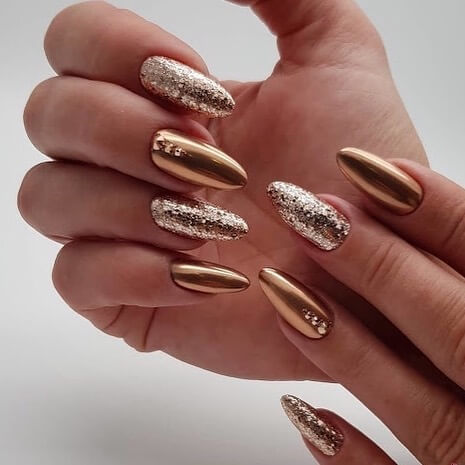 Metal Manicure Gold and Sequins on Long Nails
