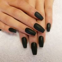 matte black acrylic nails Gallery