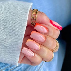 Neon and natural nail colors manicure