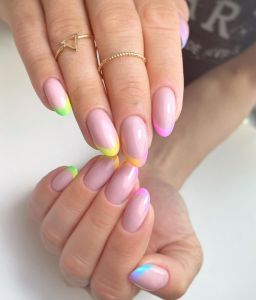 rainbow french manicure natural nails color