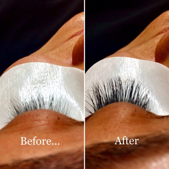 Before and after Hana applied Lôngmi lash extensions. Wow, what a difference! Call or text to book your appointment!
