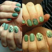 green nails olive mint lime