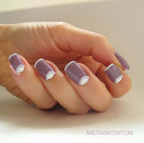 Moon French Manicure With Pearls Bride Nail Accent