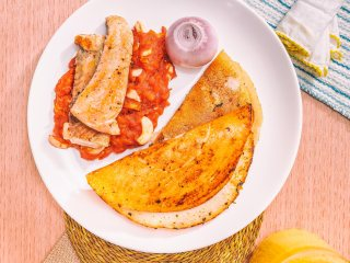 dosa, salmon, tomatoes, garlic, ghee, food, dinner, lunch, meal, napkin, eyesfordining, fish, cook, at home, salt, naina.co, naina redhu, cooking, busy cooking