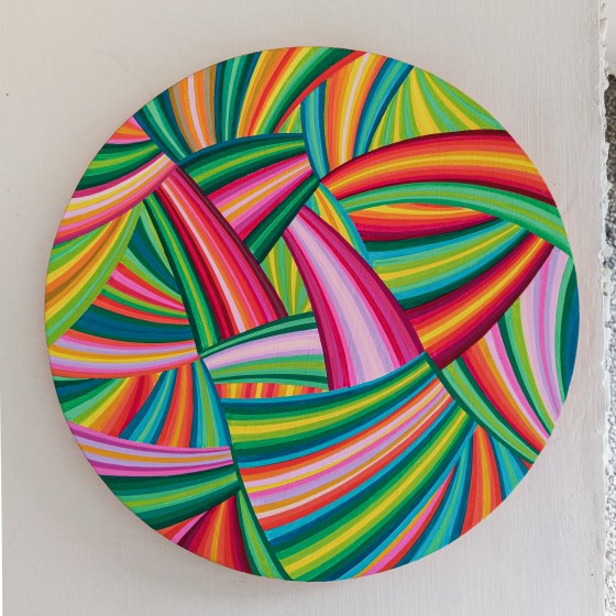 #ArtByNaina, abstract painting, abstractionism, circular canvas, contemporary art, geometric, geometric abstraction, geometric art, horizons art series, indian art, indian artist, khaosphilos, line art, line art series, lineation, naina redhu, naina.co, Original Art, original paintings, round canvas, solo exhibition, solo show, unique edition, rhubarb