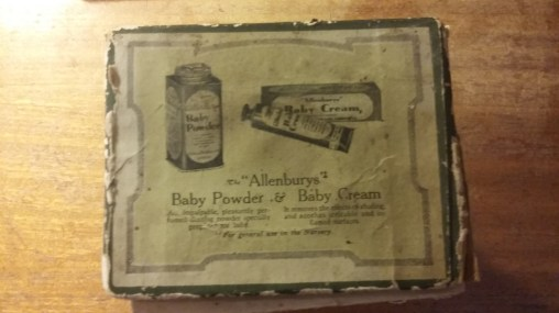 Allenburys Baby Powder& Baby Cream, as advertised on the box of the Allenburys Feeder