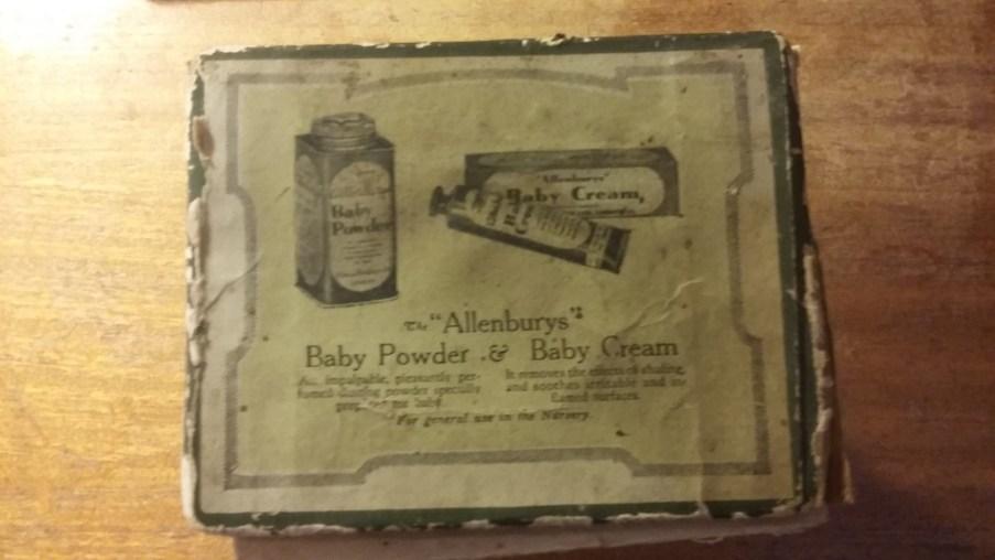 Allenburys Baby Powder& Baby Cream, as advertised on the box of the Allenburys Feeder