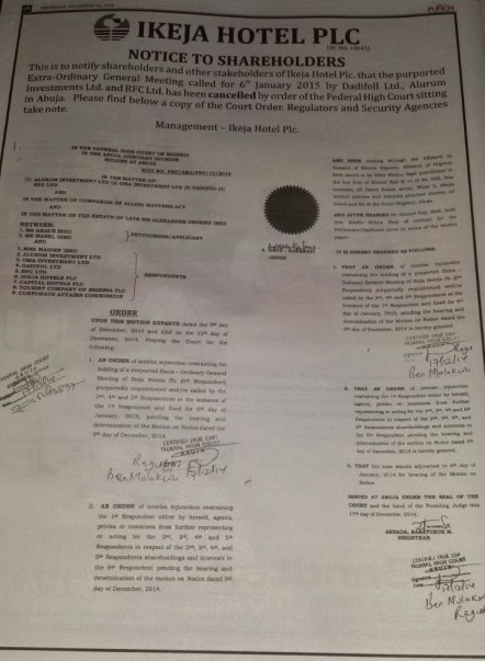 Ikeja Hotels Court Order