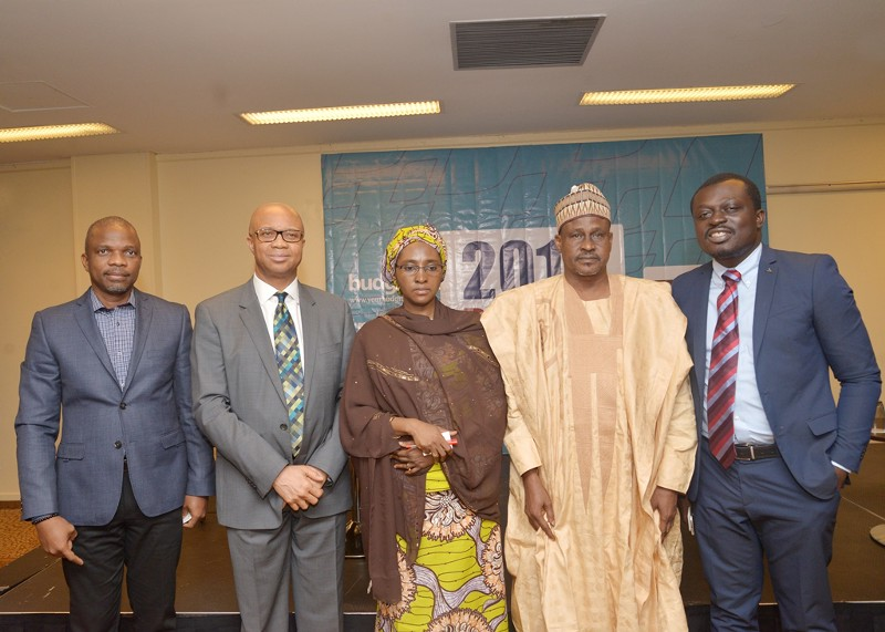 Officials of the Ministry of Budget and Planning and Seun Onigbinde at a budget event.