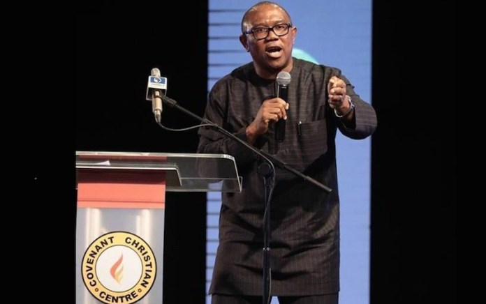 Peter Obi - Delivering his speech at the Platform.