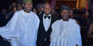 L-R: Chairman, Forte Oil Plc, Mr Femi Otedola; Chairman, UBA Plc, Mr. Tony Elumelu; and President, Dangote Industries, Alhaji Aliko Dangote, at the 2018 UBA CEO Awards where deserving staff of the Bank were honoured in a night of fun and entertainment at Eko Hotel, Lagos on Saturday