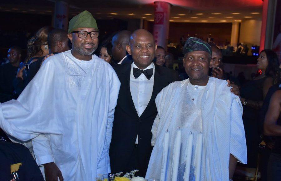 L-R: Chairman, Forte Oil Plc, Mr Femi Otedola; Chairman, UBA Plc, Mr. Tony Elumelu; and President, Dangote Industries, Alhaji Aliko Dangote, at the 2018 UBA CEO Awards where deserving staff of the Bank were honoured in a night of fun and entertainment at Eko Hotel, Lagos on Saturday
