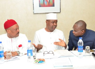 L-R: Senator Samuel Nnaemeka Anyanwu, Vice Chairman, Senate Committee on Banking, Insurance and other Financial Institutions; Chairman of the Senate Committee, Senator Rafiu Adebayo Ibrahim and Managing Director/Chief Executive Officer, Asset Management Corporation of Nigeria (AMCON), Mr. Ahmed Kuru discussing during the Senate Committee retreat on the Amendment of the AMCON Act at the Intercontinental Hotel, Lagos on….Thursday